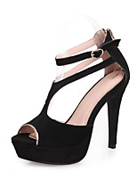 Women's Shoes Leather Stiletto Heel Heels / Peep Toe / Platform Sandals Party & Evening / Dress Black