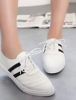 Zapatos de mujer - Tacón Plano - Comfort / Punta Cerrada - Mocasines - Exterior / Casual - Tejido - Negro / Rojo