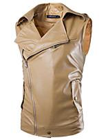 Men's Casual Pure Sleeveless Regular Jacket