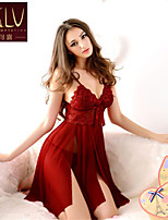 SKLV Women's Polyester/Lace Robes/Ultra Sexy/Suits Backless Solid Color Nightwear/Lingerie