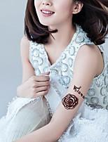 5Pcs Waterproof Brown Two Flower Rose Pattern Temporary Body Art Tattoo Sticker
