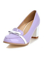 Women's Shoes Patent Leather Chunky Heel Heels/Round Toe Pumps/Heels Dress Black/Purple/Beige