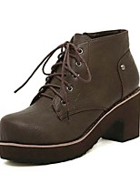 Women's Shoes Chunky Heel Platform Boots Casual Black/Brown