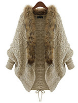 Women's Patchwork Brown Cardigan , Casual Long Sleeve