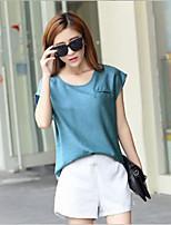Women's Linen Indigo Blouse And White Short Suit