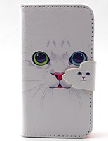 White Cat Pattern PU Material  Case for iPhone 4/4S