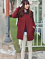 Women's Red Coat , Casual Long Sleeve Others