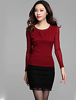 xiw&F Women's Sexy/Casual/Plus Sizes Beaded Slim Mesh Long Sleeve T-shirt (Mesh/Polyester)