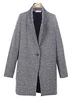 Women's Check Black Coat , Casual/Plus Sizes Long Sleeve Tweed/Wool Pocket