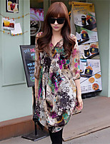 Women's Casual/Print Inelastic ½ Length Sleeve Regular Blouse (Chiffon)