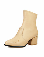 Zapatos de mujer Semicuero Tacón Robusto Puntiagudos/Botas a la Moda Botas Vestido Negro/Rojo/Beige