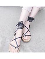 Women's Shoes Synthetic Flat Heel Open Toe Sandals Dress/Casual Black/Tan