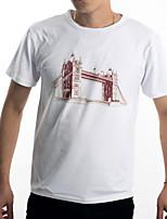 Guilan Men's Short Sleeve Print Pattern London Bridge T-shirt