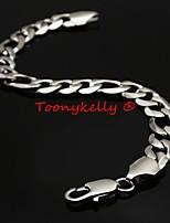 ToonykellyLength 22CM Width 1CM Silver Fashionable Men LinK Bracelet(1pc)