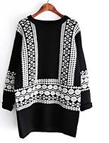 Women's Geometric Black Pullover , Vintage/Casual/Cute/Work Long Sleeve