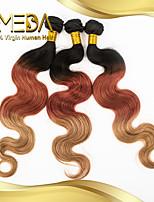 3pcs / lot cabelo virgem corpo 3t-color brasileiro do cabelo da onda 100% da extensão do cabelo humano pacotes de tecer cabelo brasileiro