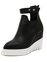 Women's Shoes  Wedge Heel Fashion Boots/Round Toe Boots Casual Black/White