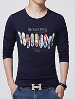 Men's Casual/Work/Formal/Sport/Plus Sizes Print Long Sleeve Regular T-Shirt (Cotton)Multicolor optional