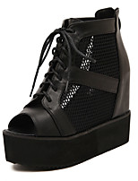 Women's Shoes Leather Wedge Heel Peep Toe Platform Sandals Party More Colors available