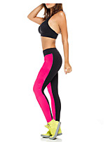 Women Cotton/Others Thin Solid Color Legging High Waist Stretched Patchwork Pants Sporting Fitness Leggings