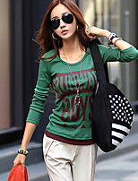 Women's Vintage Sexy Casual Cute Party Work Micro Elastic Long Sleeve Regular T-shirt (Cotton)