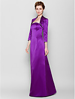 Sheath/Column Mother of the Bride Dress - Grape Floor-length 3/4 Length Sleeve Satin