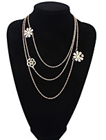 Women's European Style Fashion Multilayer Hollow Flower Alloy Necklace