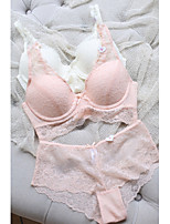 Full Coverage Bras & Panties Sets , Push-up Lace