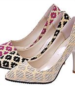 Women's Shoes Lace Stiletto Heel Heels Pumps/Heels Dress/Casual Black/Red/Beige