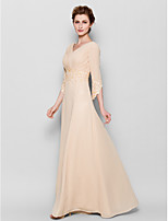 Sheath/Column Mother of the Bride Dress - Pearl Pink Floor-length 3/4 Length Sleeve Chiffon