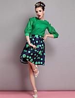 Women's Black/Green Blouse ¾ Sleeve