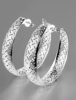 2015 Italy Style Silver Plated Africa Design Hollow Out Hoop Earrings