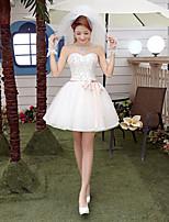 A-Lijn - Sweetheart Tule Bruidsjurk -met Wit Kort/Mini