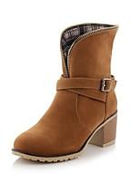 Women's Shoes Fleece Chunky Heel Fashion Boots/Round Toe Boots Dress Black/Yellow/Beige