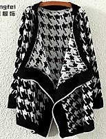 Women's White/Black Cardigan , Casual/Print Long Sleeve