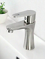 Contemporary Stainless Steel Brass One Hole Single Handle Bathroom Sink Faucet