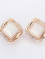Women's European Style Fashion Wild Square Rhinestone Alloy Stud Earrings With Opal