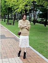 Women's Casual Micro-elastic Medium Midi Skirts (Lace)