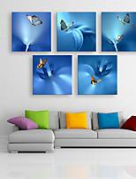 e-Home® sträckta canvas konst fjäril dekorativt måleri uppsättning av 5