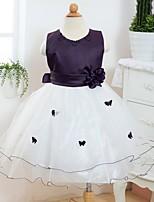 Flower Girl šaty - Satén/Tyl Bez rukávů - Áčkový střih Po lýtka