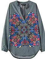 Women's New Fashion Vintage/Print Inelastic Long Sleeve Regular V Neck Blouse Shirts(Cotton Blends)