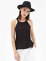 Women's Sexy Casual Inelastic Sleeveless Short Vest (Polyester)