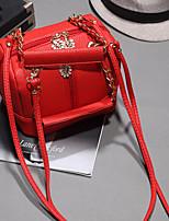 Women 's PU Barrel Shoulder Bag - White/Red/Black