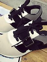 Zapatos de mujer - Tacón Bajo - Punta Abierta - Sneakers a la Moda - Casual - Cuero - Negro / Blanco