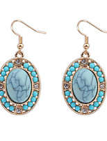 Women's European Style Fashion Simple Oval Resin Drop Earrings With Rhinestone