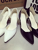 Women's Shoes Faux Leather Stiletto Heel Heels Pumps/Heels Casual Black/White/Silver