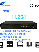 GREAT  4ch NVR with ONVIF2.4 Compatibility, 4ch 1080P/960P/720P Input, 1*RCA Audio Output