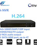 grande NVR 4ch con la compatibilità onvif2.4, 4 canali 1080p / 960p / 720p in ingresso, 1 * Uscita audio RCA