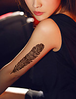 5Pcs Waterproof Brown Feathers pattern Temporary Body Art Tattoo Sticker