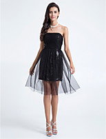 Knee-length Tulle Bridesmaid Dress - Black Plus Sizes / Petite A-line / Sheath/Column Strapless